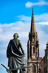 Statue of Adam Smith on the Royal Mile in Edinburgh Old town, Scotland, UK