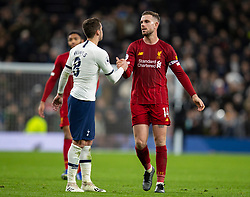 LONDON, ENGLAND - Saturday, January 11, 2020: Liverpool's captain Jordan Henderson (R) shakes hands with England team-mate Tottenham Hotspur's Harry Winks after the FA Premier League match between Tottenham Hotspur FC and Liverpool FC at the Tottenham Hotspur Stadium. Liverpool won 1-0. (Pic by David Rawcliffe/Propaganda)