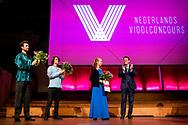 UTRECHT - Prince Constantijn hands of the awards prizes in TivoliVredenburg to Tim Brackman, Hawijch Elders and Niek Baar after the final of the netherlands violincontest . copyrughr boin utrecht .