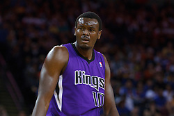 April 10, 2011; Oakland, CA, USA;  Sacramento Kings center Samuel Dalembert (10) before a free throw against the Golden State Warriors during the first quarter at Oracle Arena. Sacramento defeated Golden State 104-103.