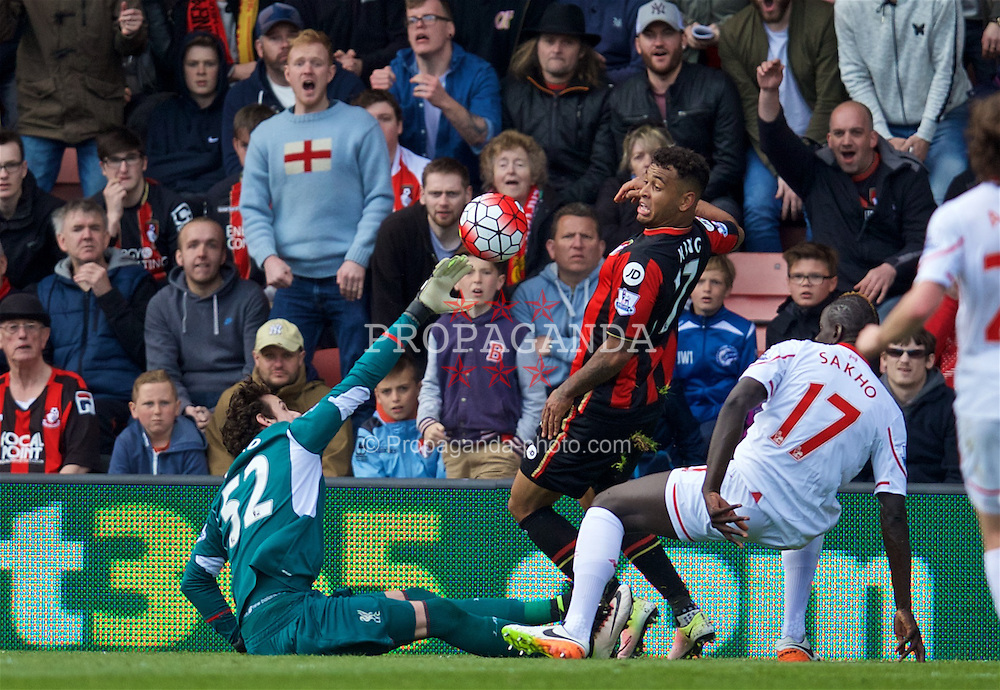 BOURNEMOUTH, ENGLAND - Sunday, April 17, 2016: Liverpool's goalkeeper Danny Ward in action against Bournemouth during the FA Premier League match at Dean Court. (Pic by David Rawcliffe/Propaganda)