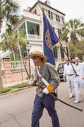 Confederate Civil War re-enactors march down Meeting Street to celebrate Carolina Day June 28, 2014 in Charleston, SC. Carolina Day celebrates the 238th anniversary of the American victory at the Battle of Sullivan's Island over the Royal Navy and the British Army.