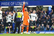 Chelsea goalkeeper Wilfredo Caballero (13) acknowledges the home fans after the EFL Cup 4th round match between Chelsea and Derby County at Stamford Bridge, London, England on 31 October 2018.