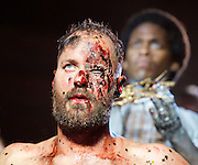 Jesus Christ Superstar <br /> by Tim Rice & Andrew Lloyd Webber <br /> at The Regent's Park Open Air Theatre, London, Great Britain <br /> press photocall<br /> 19th July 2016 <br /> <br /> Declan Bennett as Jesus <br /> <br /> Tyrone Huntley as Judas <br /> <br /> <br /> Photograph by Elliott Franks <br /> Image licensed to Elliott Franks Photography Services