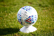 Ground shot of ball during the EFL Sky Bet League 2 Play Off Leg 1 or 2 match between Colchester United and Exeter City at the JobServe Community Stadium, Colchester, England on 18 June 2020.Two were placed decoratively either side of each goal mouth throughout the match.