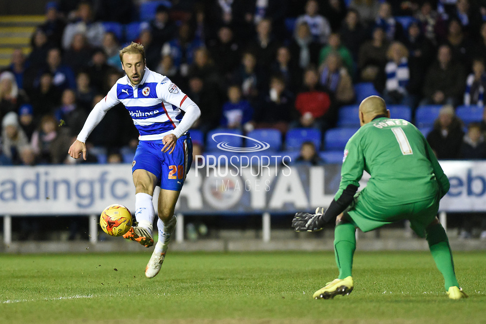 Glenn Murray shoots wide during the Sky Bet Championship match between Reading and Watford at the Madejski Stadium, Reading, England on 20 December 2014. Photo by David Charbitt.