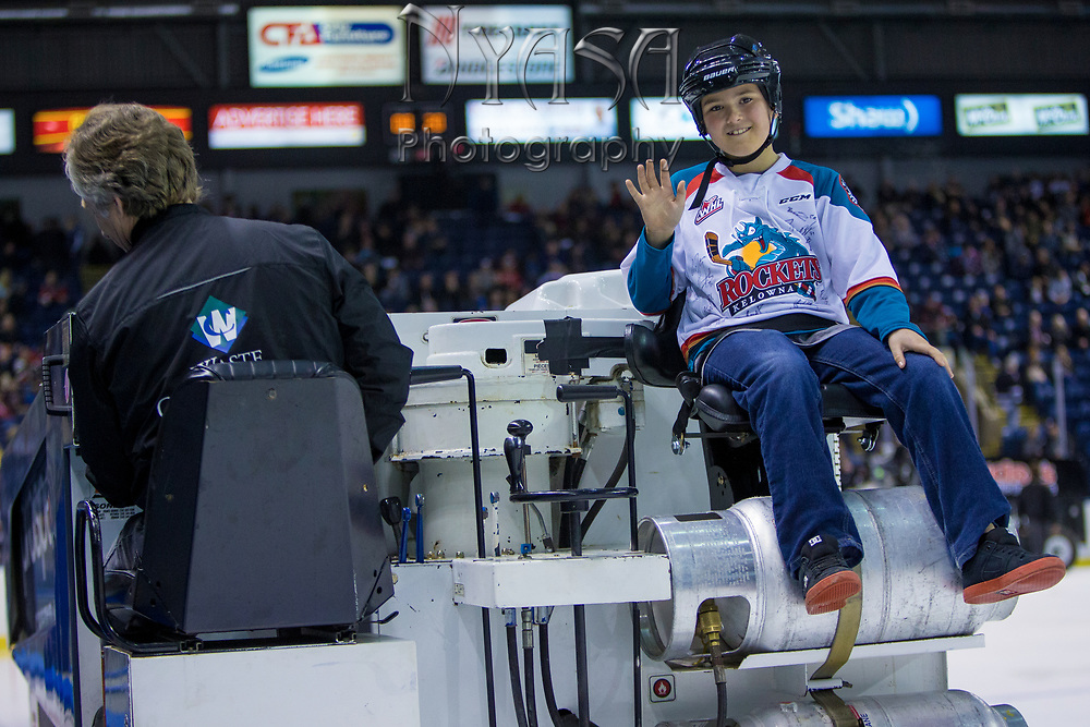 KELOWNA, CANADA - MARCH 24:  Orchard Park Zamboni Rider at the Kelowna Rockets game on March 24, 2018 at Prospera Place in Kelowna, British Columbia, Canada.  (Photo By Cindy Rogers/Nyasa Photography,  *** Local Caption ***