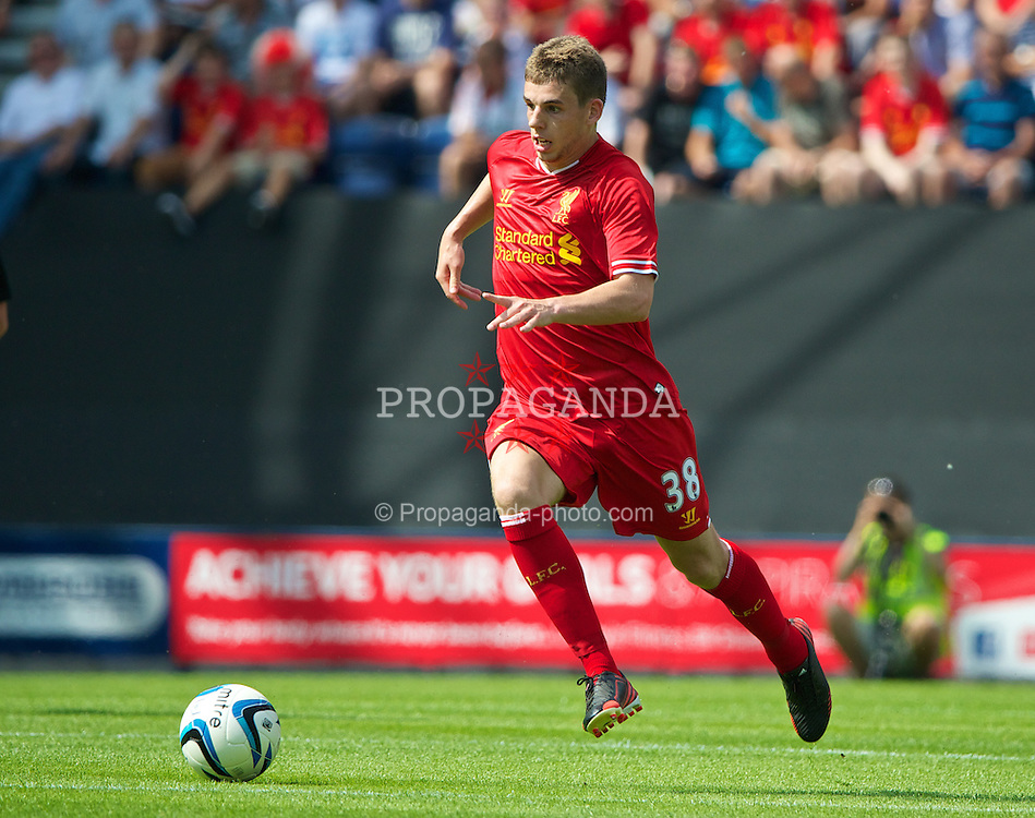 PRESTON, ENGLAND - Saturday, July 13, 2013: Liverpool's Jon Flanagan in action against Preston North End during a preseason friendly match at Deepdale. (Pic by David Rawcliffe/Propaganda)
