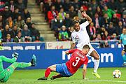 England forward Raheem Sterling challenged  by Czech Republic defender Ondrej Celustka (3) during the UEFA European 2020 Qualifier match between Czech Republic and England at Sinobo Stadium, Prague, Czech Republic on 11 October 2019.