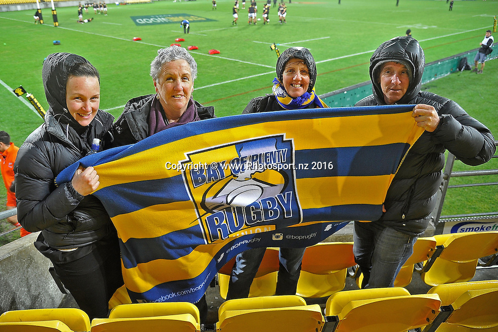 Bay of Plenty fans during the Mitre 10 Cup - Wellington vs Bay of Plenty rugby match at Westpac Stadium on Friday the 16th of September 2016. Copyright Photo by Marty Melville / www.Photosport.nz