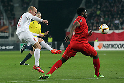 18.02.2016, WWKArena, Augsburg, GER, UEFA EL, FC Augsburg vs FC Liverpool, Sechzehntelfinale, Hinspiel, im Bild Tobias Werner ( FC Augsburg ) Kolo Toure ( FC Liverpool ) // during the UEFA Europa League Round of 32, 1st Leg match between FC Augsburg and FC Liverpool at the WWKArena in Augsburg, Germany on 2016/02/18. EXPA Pictures © 2016, PhotoCredit: EXPA/ Eibner-Pressefoto/ Langer<br /> <br /> *****ATTENTION - OUT of GER*****