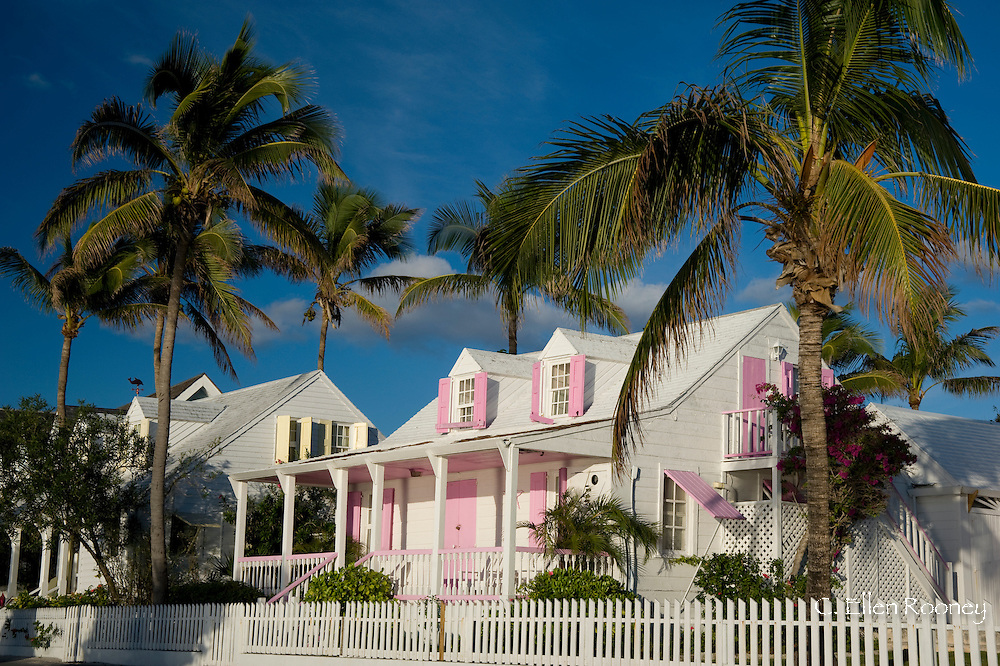 Pastel painted colonial houses in Dunmore Town, Harbour Island, Eleuthera,<br /> The Bahamas