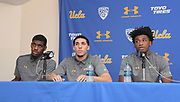 Nov 15, 2017; Los Angeles, CA, USA; UCLA Bruins forward Cody Riley (left), guard LiAngelo Ball (center) and forward Jalen Hill read statements during a press conference at Pauley Pavilion regarding arrest of the freshman players in China for shoplifting.