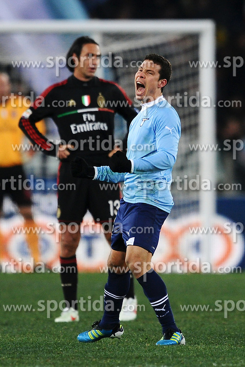 01.02.2012, Olympiastadion, Rom, ITA, Serie A, Lazio Rom vs AC Milan, 21. Spieltag, im Bild Esultanza di Anderson Hernanes Lazio, // during the football match of Italian 'Serie A' league, 21th round, between Lazio Rom and AC Milan at Olympic Stadium, Rome, Italy on 2012/02/01. EXPA Pictures © 2012, PhotoCredit: EXPA/ Insidefoto/ Andrea Staccioli..***** ATTENTION - for AUT, SLO, CRO, SRB, SUI and SWE only *****