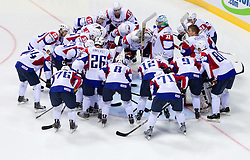 Team of Slovenia during ice-hockey match between Austria and Slovenia of GroupGE in Relegation Round of IIHF 2011 World Championship Slovakia, on May 7, 2011 in Orange Arena, Bratislava, Slovakia. (Photo By Vid Ponikvar / Sportida.com)