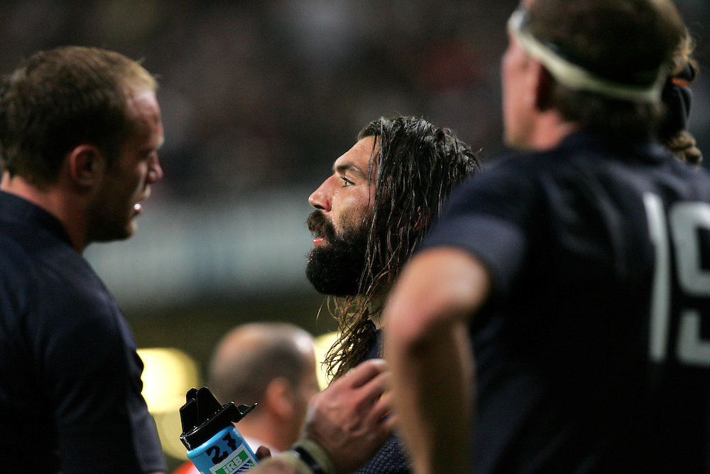 A dejected Sebastien Chabal after New Zealnd score their second try. France v New Zealand, Quarter Final 2, IRB Rugby World Cup 2007, Millenium Stadium, Cardiff, Wales, 6th October 2007.