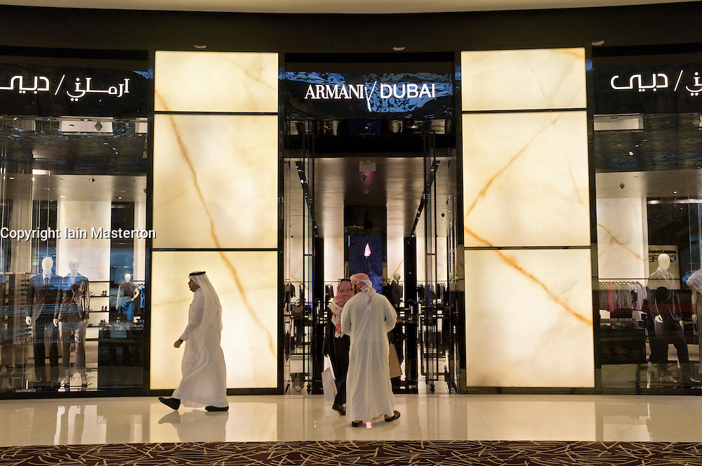 Armani store in Dubai Mall in Dubai in United Arab Emirates