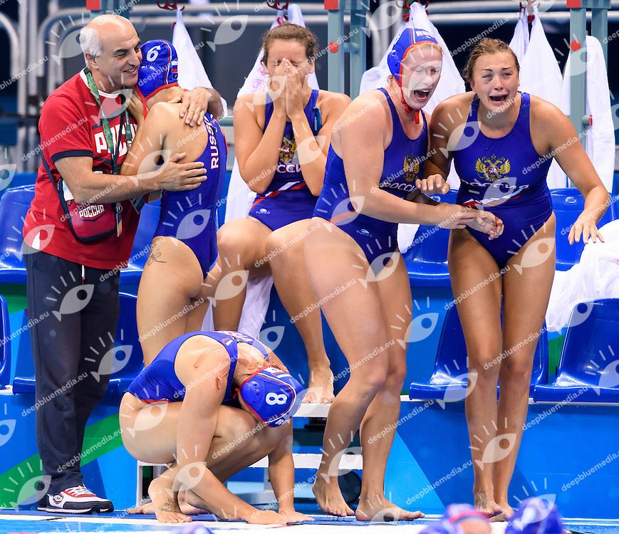 Russian player celebrate after winning the bronze medal match <br /> Rio de Janeiro 19-08-2016 Olympic Aquatics Stadium  - Water Polo <br /> HUNGARY HUN - RUSSIA RUS Final 3th 4th place <br /> Foto Andrea Staccioli/Deepbluemedia/Insidefoto