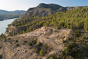 Iberian settlement of L'Assut, aerial view, above the river Ebro, near Tivernys, Terres de l'Ebre, Catalonia, Spain. Archaeologists have recently excavated the fortified circular entrance tower at the top of the site. Picture by Manuel Cohen