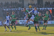 Bristol Rovers Rory Gaffney (30) heads the ball to goal during the EFL Sky Bet League 1 match between Bristol Rovers and Scunthorpe United at the Memorial Stadium, Bristol, England on 24 February 2018. Picture by Gary Learmonth.