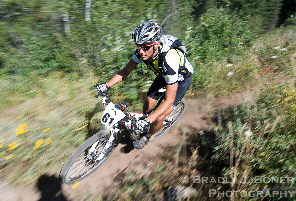 BRADLY J. BONER.Adam Meyer of Victor speeds down the Mill Creek single track Saturday during the Pierre's Hole 50-mile race at Grand Targhee Resort. Meyer finished fifth in the Open Men's class with a time of 4:48:02.