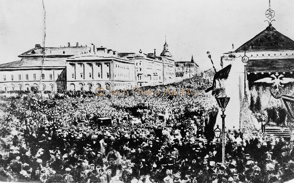 Holiday crowd in Moscow celebrating the Declaration of Liberty by the Tsar 1861