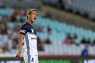 SYDNEY, AUSTRALIA - APRIL 27: Melbourne Victory midfielder Keisuke Honda (4) yells at a team mate at round 27 of the Hyundai A-League Soccer between Western Sydney Wanderers FC and Melbourne Victory on April 27, 2019 at ANZ Stadium in Sydney, Australia. (Photo by Speed Media/Icon Sportswire)