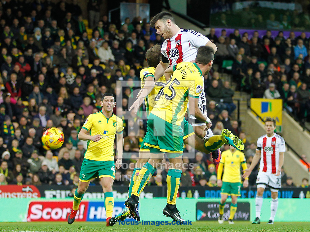 Scott Hogan of Brentford heads the ball goalwards during the Sky Bet Championship match between Norwich City and Brentford at Carrow Road, Norwich<br /> Picture by Mark D Fuller/Focus Images Ltd +44 7774 216216<br /> 03/12/2016