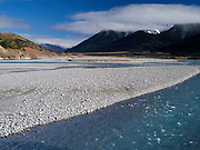 The Waimakariri River  with the Polar Range in the background, New Zealand.