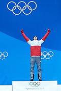 South Korea, PyeongChang - 2018 February 18: Kamil Stoch from Poland celebrates his gold medal while Men's Large Hill Individual Medal Ceremony during The 2018 PyeongChang Olympic Winter Games at PyeongChang Medals Plaza on February 18, 2018 in PyeongChang, South Korea.<br /> <br /> Mandatory credit:<br /> Photo by &copy; Adam Nurkiewicz<br /> <br /> Adam Nurkiewicz declares that he has no rights to the image of people at the photographs of his authorship.<br /> <br /> Picture also available in RAW (NEF) or TIFF format on special request.<br /> <br /> Any editorial, commercial or promotional use requires written permission from the author of image.