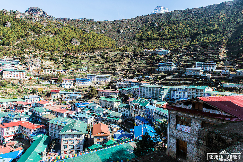 The hillside town of Namche Bazaar at 3,440 metres in the Solukhumbu District of the Sagarmatha Zone of north-eastern Nepal.