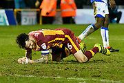 Romain Vincelot (6) of Bradford City looks frustrated, looks dejected after missing a goal scoring chance during the EFL Sky Bet League 1 match between Bristol Rovers and Bradford City at the Memorial Stadium, Bristol, England on 20 January 2018. Photo by Graham Hunt.