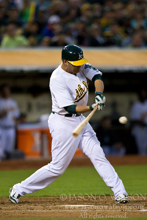 OAKLAND, CA - JULY 05:  Nate Freiman #35 of the Oakland Athletics at bat against the Toronto Blue Jays during the fifth inning at O.co Coliseum on July 5, 2014 in Oakland, California. The Oakland Athletics defeated the Toronto Blue Jays 5-1.  (Photo by Jason O. Watson/Getty Images) *** Local Caption *** Nate Freiman