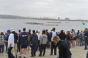 San Diego, California. USA. General Views, Crew Racing, Spectators watch from the Beach. 2013 Crew Classic Regatta, Mission Bay.  08:25:51.  Saturday  06/04/2013   [Mandatory Credit. Peter Spurrier/Intersport Images]  ..