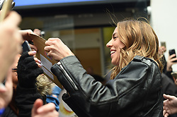 Spice Girl Melanie Chisholm speaks to fans outside Global Radio studios in Leicester Square, London.