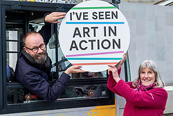 Pictured: Gallery driver Andrew Menzies and travelling Gallery administrator Sheila Capewell.<br /><br />The Travelling Gallery bus was to be found outside the Scottish Parliament today as part of the national Art in Action campaign. <br /><br />Ger Harley | EEm 1 October 2019