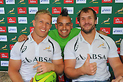 CAPE TOWN, SOUTH AFRICA - OCTOBER 15 2015, Kyle Brown, Carl Wastie (MC from Good Hope Fm) and Frankie Horne during the Springbok 7's Try Dive competition at the University of Cape Town's Jameson Plaza for the Cape Town 7s taking place at Cape Town Stadium on12&amp;13 December 2015.<br /> Photo by Roger Sedres/ImageSA
