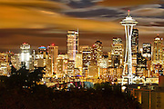USA, Washington, Seattle. Night view of the Seattle skyline.