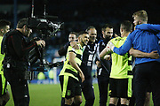 Huddersfield Town players celebrate during the EFL Sky Bet Championship play off second leg match between Sheffield Wednesday and Huddersfield Town at Hillsborough, Sheffield, England on 17 May 2017. Photo by John Potts.