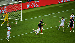 MOSCOW, RUSSIA - Wednesday, July 11, 2018: Croatia's Ivan Perišić scores the first equalising goal during the FIFA World Cup Russia 2018 Semi-Final match between Croatia and England at the Luzhniki Stadium. (Pic by David Rawcliffe/Propaganda)