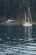 A sailing yacht at anchor off a beach with a bach. Kauwau Island, New Zealand. 12/2/2003 (© Chris Cameron 2003)