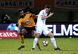 Marcus Antonsson of Leeds United is marshalled by James Dunne of Cambridge United - Mandatory by-line: Robbie Stephenson/JMP - 09/01/2017 - FOOTBALL - Cambs Glass Stadium - Cambridge, England - Cambridge United v Leeds United - FA Cup third round