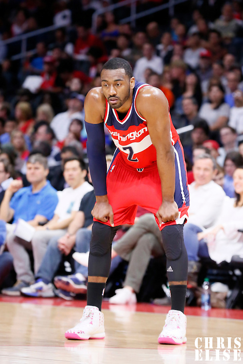 20 March 2015: Washington Wizards guard John Wall (2) rests during the Los Angeles Clippers 113-99 victory over the Washington Wizards, at the Staples Center, Los Angeles, California, USA.