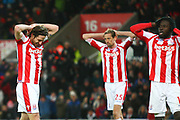 Stoke City's Joe Allen reacts during the Premier League match between Stoke City and Liverpool at the Bet365 Stadium, Stoke-on-Trent, England on 29 November 2017. Photo by John Potts.
