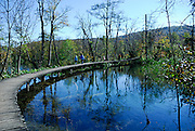 People walking on curved, raised walkway over pool. Plitvice National Park, Croatia