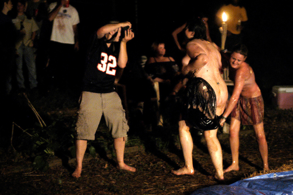 (photo by Matt Roth).Sunday, July 18, 2004.Atlanta, GA..Backyard lesbian pudding wrestling!