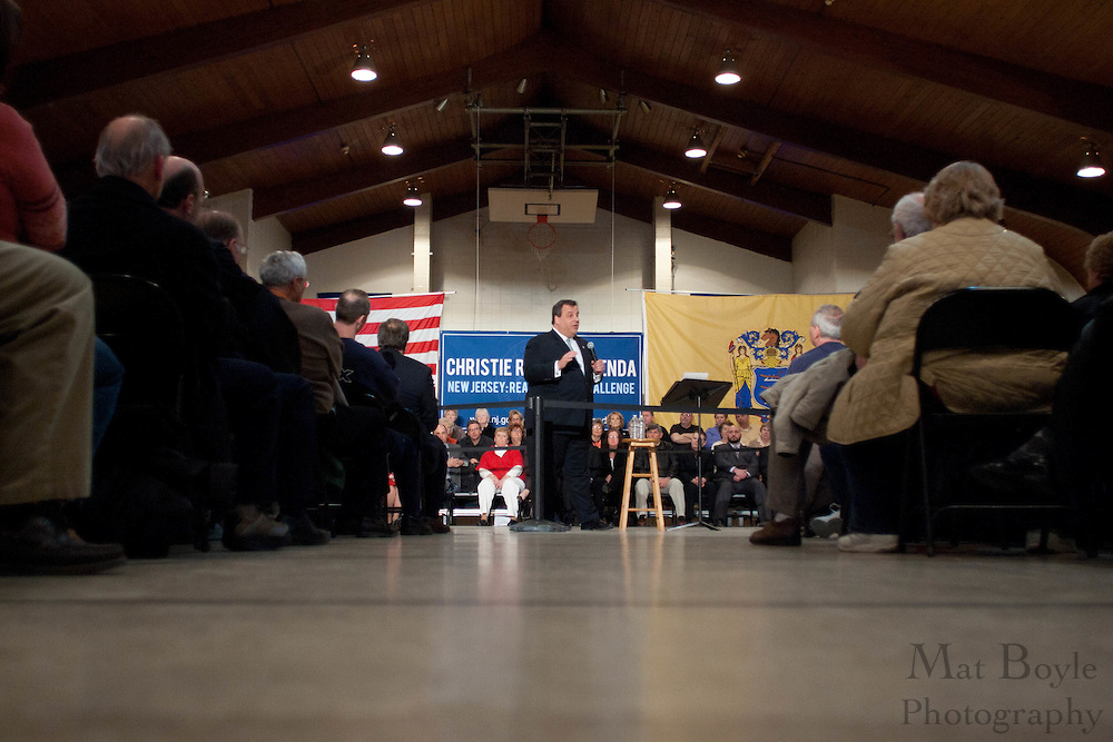 New Jersey Governor Chris Christie hosts a town hall meeting at the John Paul II Center in West Deptford NJ.