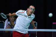 SO Poland athlete Radoslaw Soltysiak in action while badminton competition during fifth day of the Special Olympics World Games Los Angeles 2015 on July 29, 2015 at Los Angeles Convention Centre in Los Angeles, USA.<br /> <br /> USA, Los Angeles, July 29, 2015<br /> <br /> Picture also available in RAW (NEF) or TIFF format on special request.<br /> <br /> For editorial use only. Any commercial or promotional use requires permission.<br /> <br /> Adam Nurkiewicz declares that he has no rights to the image of people at the photographs of his authorship.<br /> <br /> Mandatory credit:<br /> Photo by © Adam Nurkiewicz / Mediasport