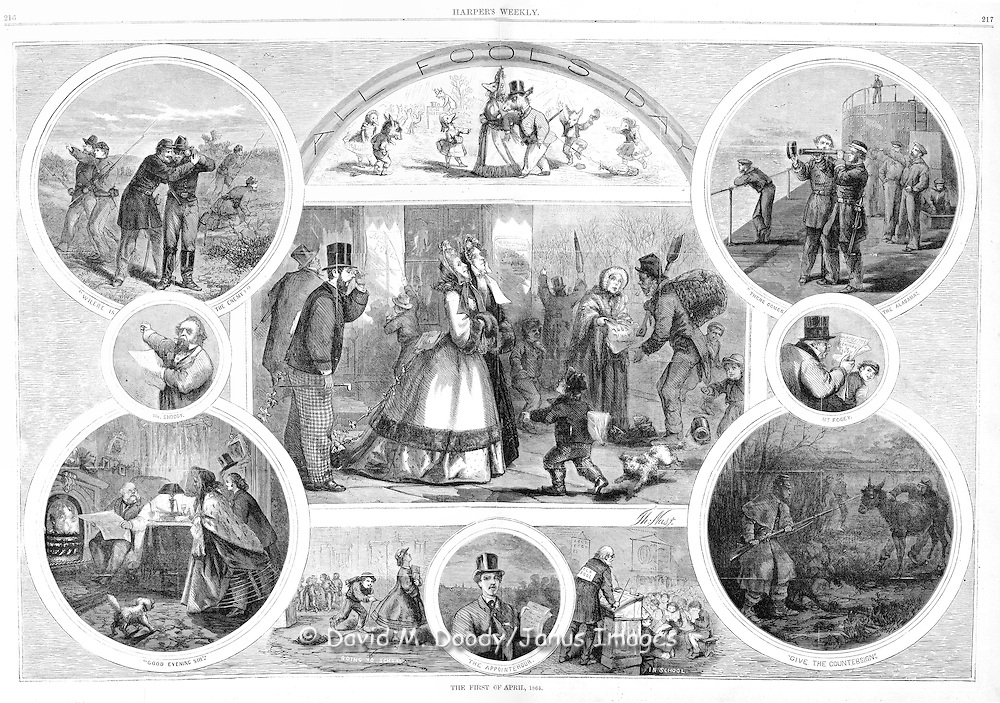 April Fools day Harper's Weekly 1865 by Thomas Nast