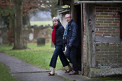 © Licensed to London News Pictures. 17/12/2017. Maidenhed, UK. Prime Minister Theresa May attends church with her husband Philip. Photo credit: Peter Macdiarmid/LNP